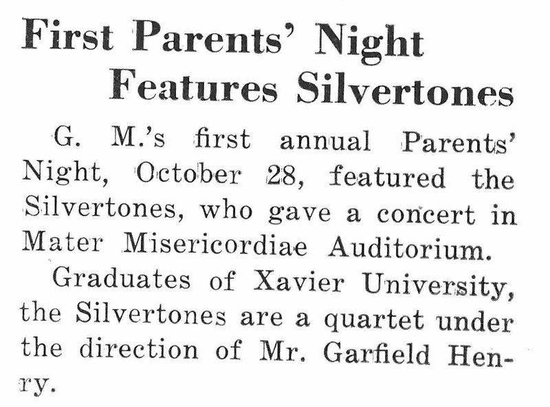 First Parents' Night Features Silvertones