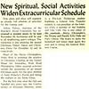 New Spiritual, Social Activities Widen Extracurricular Schedule