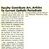 Faculty Contribute Art, Articles To Current Catholic Periodicals
