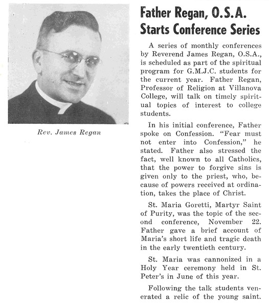 Father Regan, O.S.A. Starts Conference Series