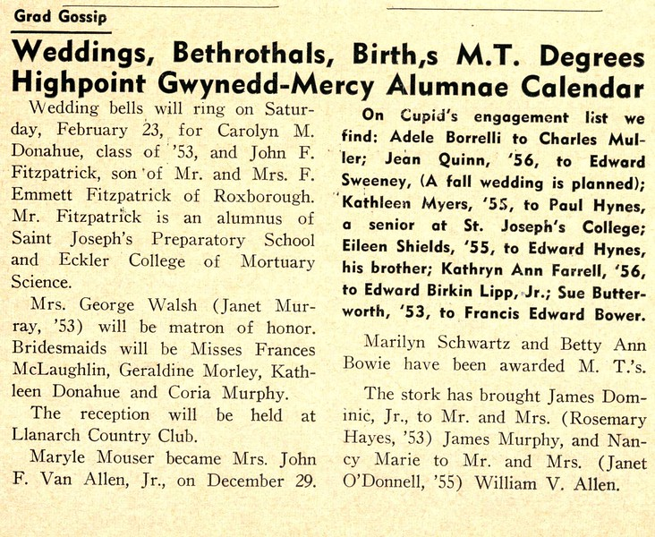 Grad Gossip Weddings, Bethrothals, Birth,s M.T. Degrees Highpoint Gwynedd-Mercy Alumnae Calendar