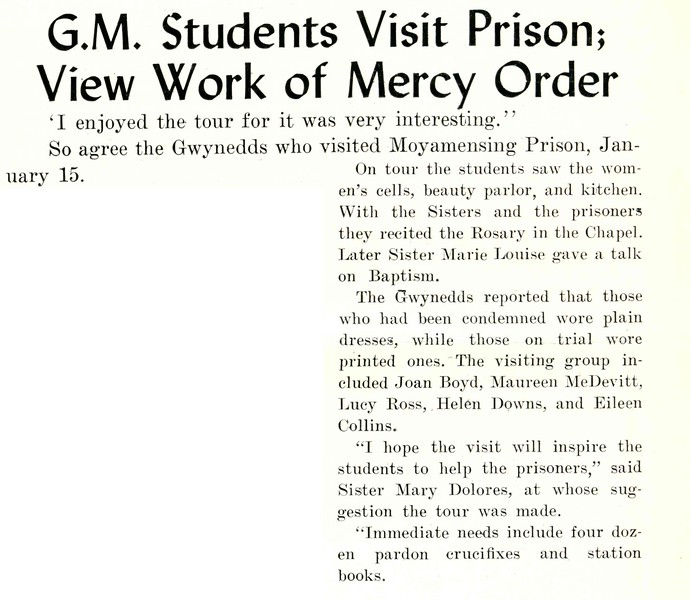 G.M. Students Visit Prison; View Work of Mercy Order