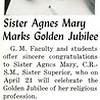 Sister Agnes Mary Marks Golden Jubilee