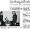 Mothers Sponsor Card Party, Fashions; Gwyn-eds, College Men to Act As Models
