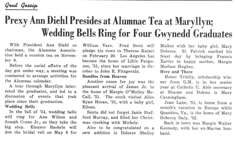 Grad Gossip Prexy Ann Diehl Presides at Alumnae Tea at Maryllyn; Wedding Bells Ring for Four Gwynedd Graduates