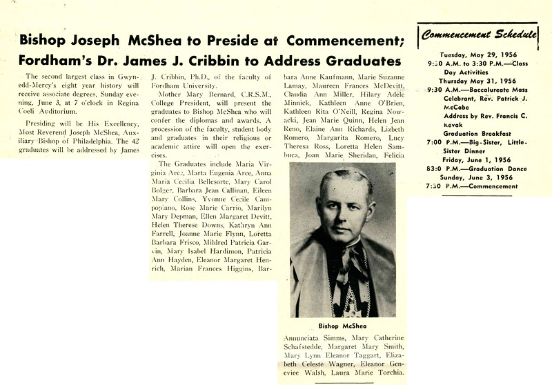 Bishop Joseph McShea to Preside at Commencement; Fordham's Dr. James J. Cribbin to Address Graduates