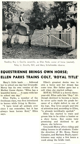 "EQUESTRIENNE BRINGS OWN HORSE; ELLEN PARKS TRAINS COLT, ""ROYAL TITLE"""