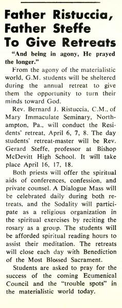 Father Ristuccio, Father Steffe To Give Retreats