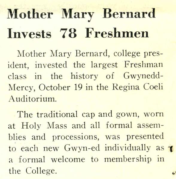 Mother Mary Bernard Invests 78 Freshmen