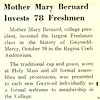 Mother Mary Bernard Invests 78 Freshmen