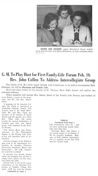 G. M. to Play Host for First Family-Life Forum Feb. 14; Rev. John Cullen to Address Intercollegiate Group