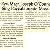 Rt. Rev. Msgr. Joseph O'Connell To Sing Baccalaureate Mass