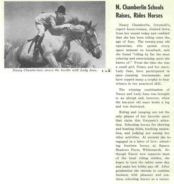 N. Chamberlin Schools Raises, Rides Horses