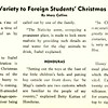 Traditions Add Variety to Foreign Students' Christmas Customs