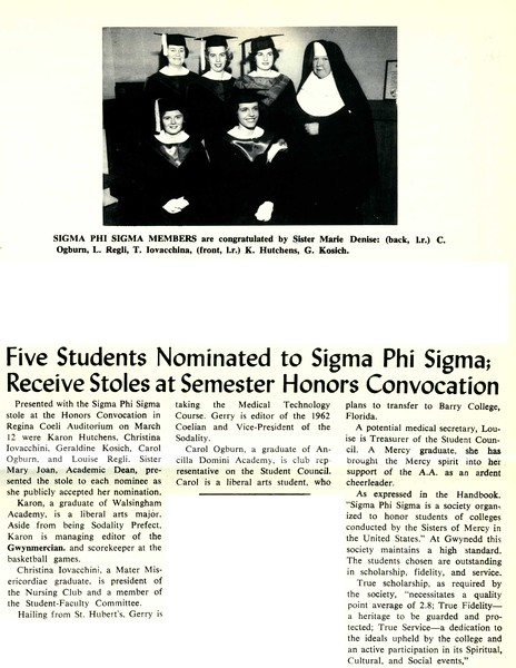 Five Students Nominated to Sigma Phi Sigma; Receive Stoles at Semester Honors Convocation