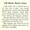 GM Marks Dean's Feast