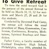Rev. Paul Carey To Give Retreat