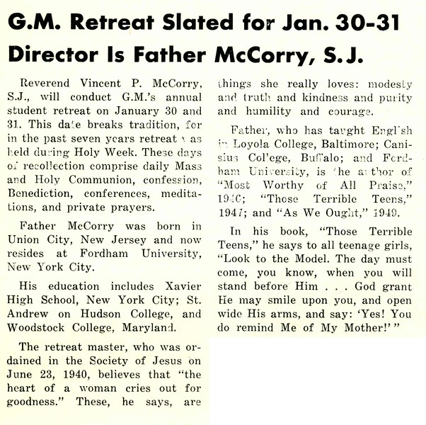 G.M. Retreat Slated for Jan. 30–31 Director Is Father McCorry, S.J.