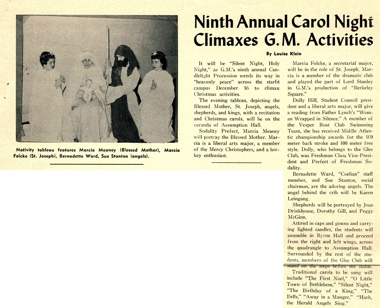 Ninth Annual Carol Nighi Climaxes G.M. Activities