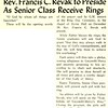 Rev. Francis C. Revak to Preside As Senior Class Receive Rings