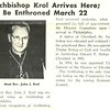Archbishop Krol Arrives Here; To Be Enthroned March 22