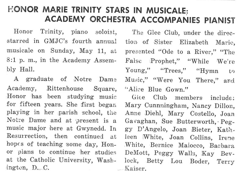 HONOR MARIE TRINITY STARS IN MUSICALE: ACADEMY ORCHESTRA ACCOMPANIES PIANIST