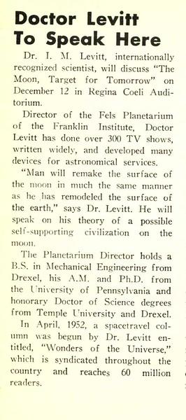 Doctor Levitt To Speak Here