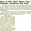 Mass of Holy Spirit Opens Year; Scholastic Enrollment Hits Peak