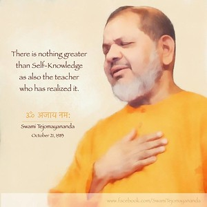 There is nothing greater than #Self - #Knowledge - as also the #teacher who has #realized it.  #SwamiTejomayanandaji #ChinmayaMission  #gyan #knowledge #truth #wisdom