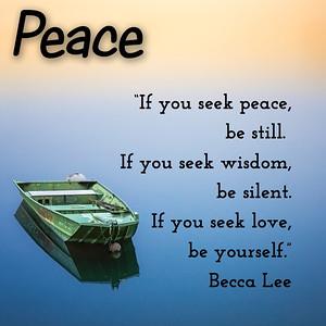 If you seek #peace, be #still.  If you seek #wisdom, be #silent.  If you seek #love, be #yourself.   #BeccaLee #gyan #wisdom #knowledge