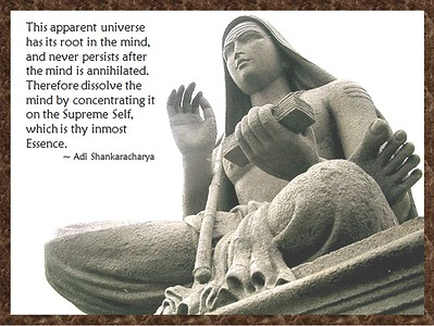 This apparent #universe has its root in the #mind, and never persists after the mind is #annihilated. Therefore, #dissolve the mind by concentrating it on the #Supreme #Self, which is thy inmost #Essence.  #Adi #Shankaracharya