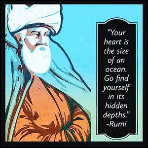 Your heart is the size of an ocean. Go find yourself in its hidden depths.  #Rumi #gyan #knowledge #truth #wisdom