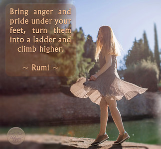 Bring #anger and #pride under your feet, turn them into a ladder and climb higher.   ~ #Rumi ~ #gyan #knowledge #truth #wisdom #quote
