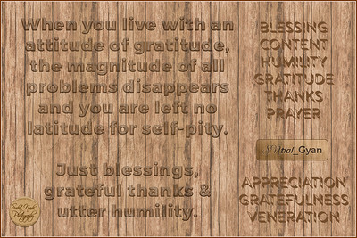 When you live with an attitude of gratitude, the magnitude of all problems disappears and you are left no latitude for self-pity. Just blessings, grateful thanks & utter humility.  #SNtial_Gyan #gyan #knowledge #truth #wisdom #quote