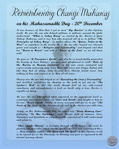 """Remembering Chariji Maharaj on his Mahasamadhi Day - 20th December  It was because of Him that I got to meet """"My Master"""" in this lifetime itself. He was the one who helped millions & millions around the globe understand  """"What is Sahaj Marg"""" as started by his Master & Guru Babuji Maharaj, and it was him who inspired all of us to follow """"The Principles of Sahaj Marg"""". No matter where, the """"Yatra: India in the West"""" or anywhere in the world. He is the one who started our internal yatra and taught us """"Religion and Spirituality"""" and beyond and that too """"Heart to Heart"""" and with a """"Heart of the Lion"""" as we all know well.  He gave us """"A Preceptor's Guide"""" and also he so wonderfully unraveled the beauty of dear Babuji's persona, and enlightened us with """"Role of the Master in Human Evolution"""" in his own sweet, animated and expressively endearing way. Even those who never met Pujya Babuji felt like they had al along- only because dear Chariji would never stop talking of him and connect us to Him at all times.  Chariji was the one who helped us in """"Revealing the (true) Personality"""" and instilled confidence by showing us the path to get out of """"The Spider's Web"""" in this life itself though full of our self-created samskaras and entanglements, a task no doubt only a true Master is capable of doing.  He was the one who joined what appeared on the superficial level as seemingly unconnected topics of """"Love and Death"""" and taught us how to let our """"Heart Speak"""" boldly on every occasion and for us to get """"The Fruit of the Tree"""" in this lifetime itself and in the shortest possible time.  Today, on His Mahasamadhi Day, we take a trip """"Down Memory Lane"""" following """"In His Footsteps"""", with Hearts full of immense Love, Reverence and Gratitude as only those who experienced it will understand and relate to.  """"Thus speaks Chariji"""" so lovingly through all the heart - the seeds he planted who have blossomed into the Garden of Eden and experienced bliss ... May everyone realise """"The Guru and The """