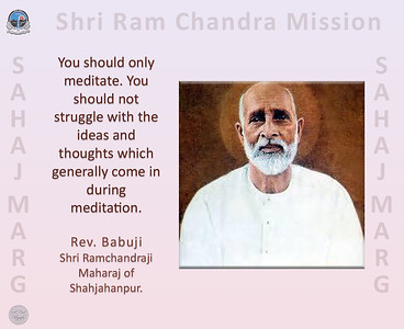 You should only meditate. You should not struggle with the ideas and thoughts which generally come in during meditation.  Rev. Babuji, Shri Ramchandraji Maharaj of Shahjahanpur.  #Babuji #Ram #Chandra #SahajMarg #Sahaj #Marg #SRCM #gyan #knowledge #truth #wisdom #quote