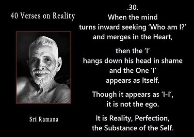 When the #mind turns #inward seeking 'Who am I?' and #merges in the #Heart, then the 'I' hangs down his head in shame and the One 'I' appears as itself.