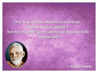 Dive deep into the chambers of your #heart. Find out the real, infinite 'I'. Rest there #peacefully for ever and become #identical with the #Supreme #Self.  #Ramana #Maharshi #SriRamanaMaharshi #gyan #wisdom #knowledge