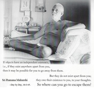 If objects have an independent existence, i.e. if they exist anywhere apart from you, then it maybe be possible for you to go away from them.  But they do not exist apart from you; they owe their existence to you, to your thoughts. So where can you go to escape them?  #Ramana #Maharshi #SriRamanaMaharshi #gyan #knowledge #truth #wisdom #quote