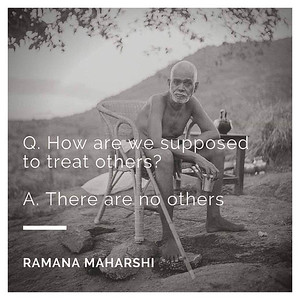 Q: How are we supposed to traeat others? Ramana Maharshi: There are no others.  #Ramana #Maharshi #SriRamanaMaharshi #gyan #knowledge #truth #wisdom #quote