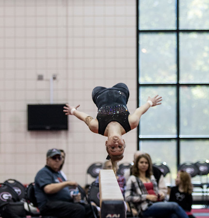 The Gymdogs show fans a preview of their routines for the upcoming season during the 2016 Pumpkin Peek at the Suzanne Yoculan Gymnastics Center in Athens, Ga., on Saturday, November 5, 2016. (Photo by John Paul Van Wert)