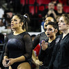 Georgia's Sabrina Vega and her teammates watch during the Gymdogs' meet against Arkansas in Stegeman Coliseum in Athens, Ga., on Friday, Jan. 20, 2016. (Photo by Cory Cole)