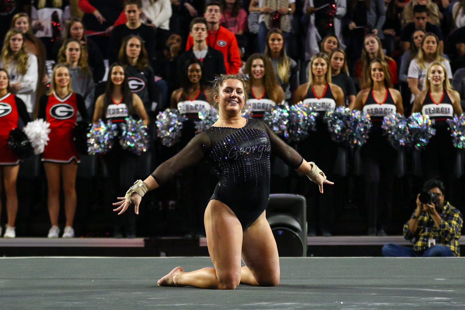 Georgia's Rachael Lukacs during a gymnastics meet between the University of Georgia and Ohio State University in Stegeman Coliseum in Athens, Ga., on Saturday, Jan. 5, 2019. (Photo by Kristin M. Bradshaw)