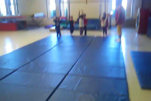 Lauryn & Vanessa jumping.