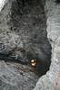 Hull for feste av wire. Wirene skal tres inn i gummiforinger inni hullene i fjellet. Disse ender opp i en tunnel på baksiden, der wirene skal feses. Hålogalandsbrua, bygging pr 22. august 2014.