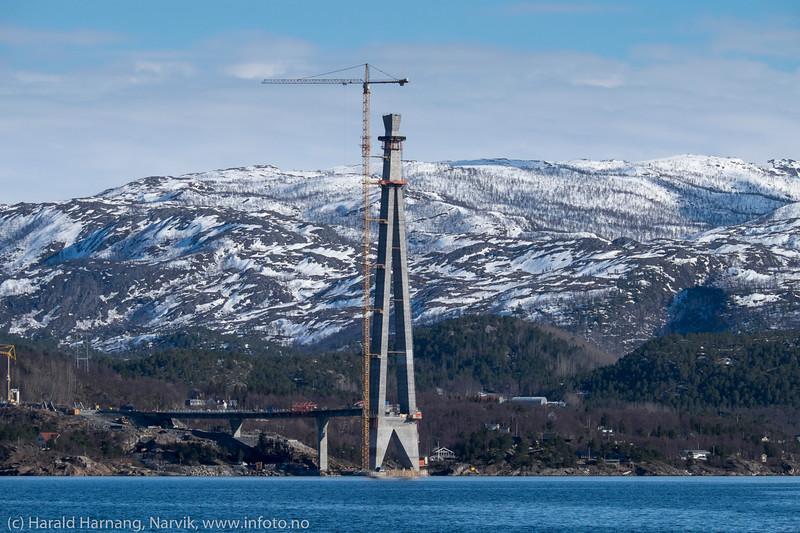 Hålogalandsbrua, nordre tårn, 5. april 2016. Foto fra moloen i Vassvik.