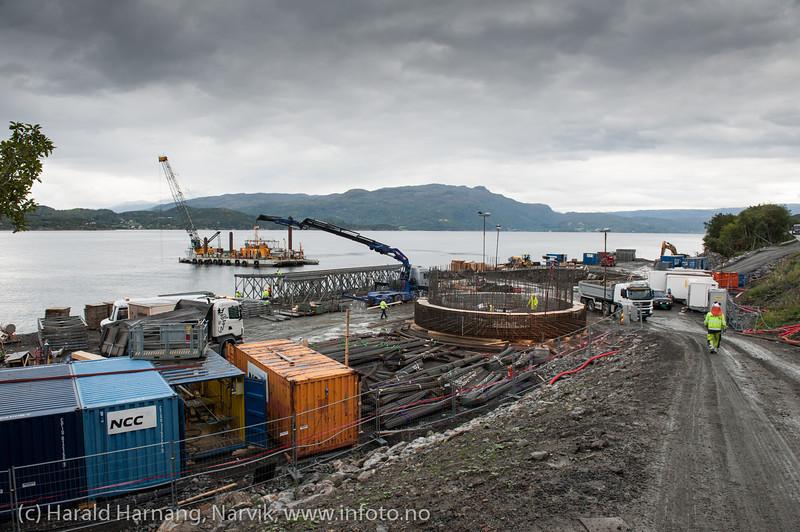 Bygging av Hålogolandsbrua, søndre brufeste. Situasjon pr 5. september 2013.