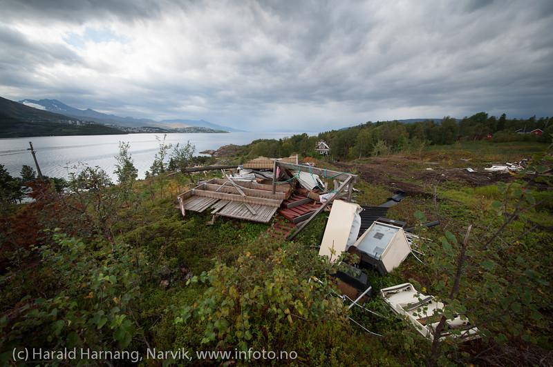 Øyjord, bygging av Hålogolandsbrua, situasjon pr 5. september 2013.