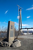 Søndre tårn på Hålogalandsbrua. Det klargjøres nå for kabelstrekking. 19. april 2016. I forgunnen minnebauta på Veteranplasen over general Fleischer.