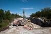 Statens vegvesen/Istak bygger veianlegg (ny E6) i forbindelse med Hålogalandsbrua. Foto 6. juni 2014, Øyjord. Boring og klargjøring for sprengning. Like i nærheten av Øyjord bru.